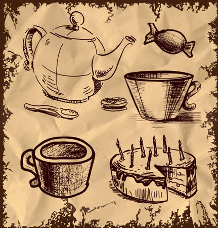 tea kettle: Tea and coffee icons set on vintage background Illustration