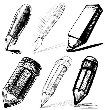 lijntekening: Het verzamelen van pennen en potloden