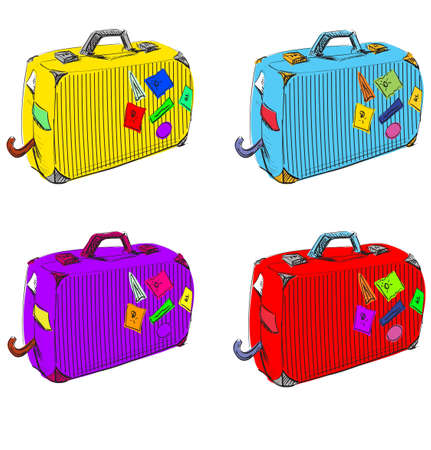 Bright set of suitcases Vector