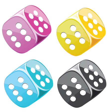 double the chances: Lucky dices many color vector set Illustration