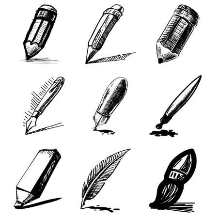 pencil symbol: Pens and pencils collection Illustration