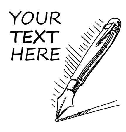 샘플 텍스트와 잉크 펜 일러스트