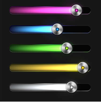 Equalizer glossy glowing track bar. Vector media player elements Vector