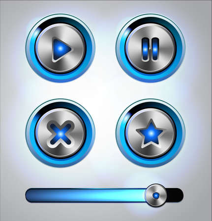 Set of  media player elements.Glossy metal buttons with track bar. Stock Vector - 20637335