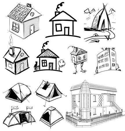 Set Bosquejo de las casas en estilo de dibujo Foto de archivo - 20628539