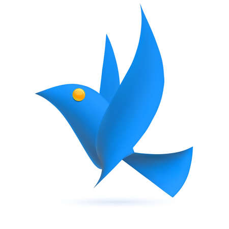 Blue bird ecology element. Vector illustration Vector