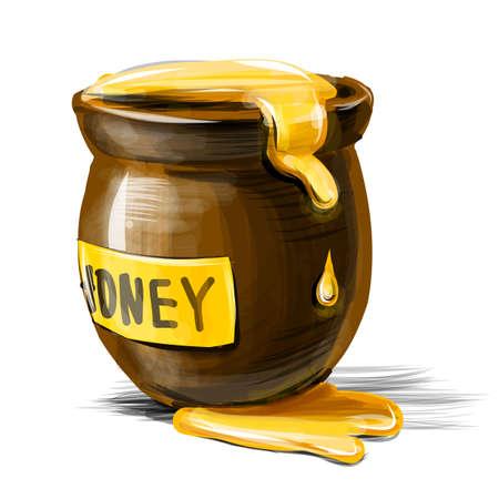 Vaso di miele isolato su sfondo bianco. Vector illustration