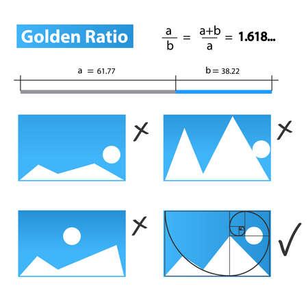 golden ratio: Coeficiente de oro, de oro Proporci�n ilustraci�n vectorial