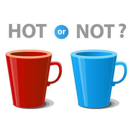 Two mugs illustrated hot and cold drinks. Vector illustration Vector