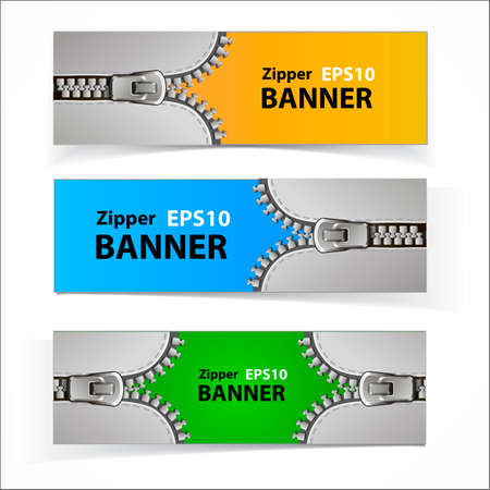 Colorful set of promotional sale banners with original zipper design Stock Illustratie