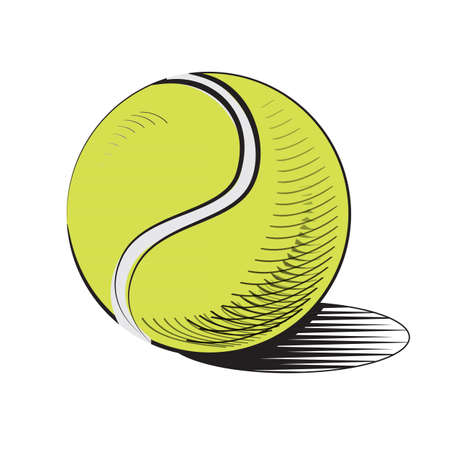 tenis: Tennis ball isolated on white. Sketch vector illustration