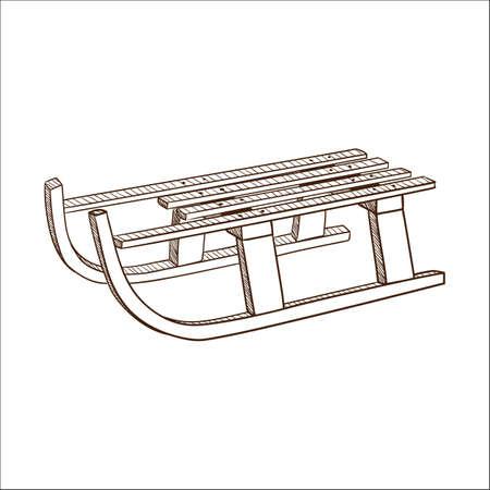 Sled, sledge isolated on white. Sketch vector illustration Vector