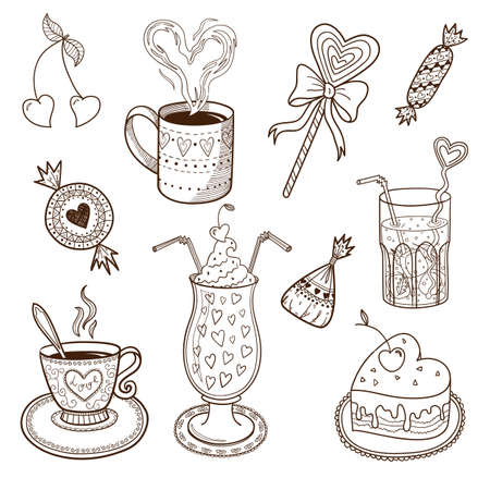 Collection of drinks and sweets. Sketch vector element for romantic design Vector