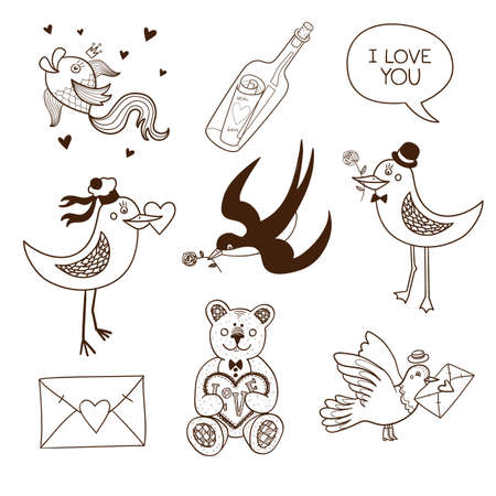 Collection of sketch vector elements for romantic design Vector