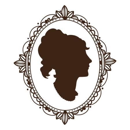 woman profile: Vignette frame with woman profile.  Illustration
