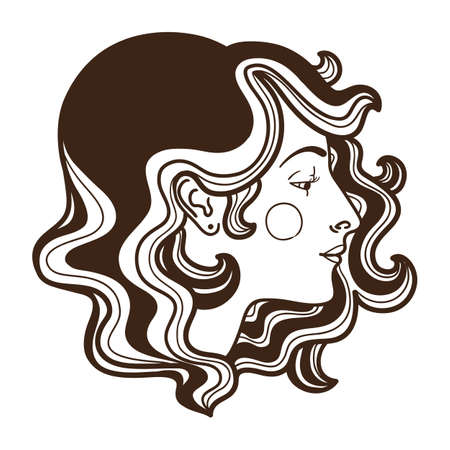 femme: Stylish woman face hand drawn vector illustration