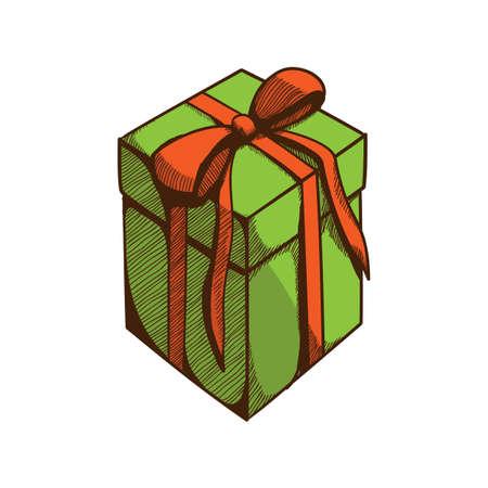 Present box avec du ruban et arc. Location élément de design isolé sur blanc