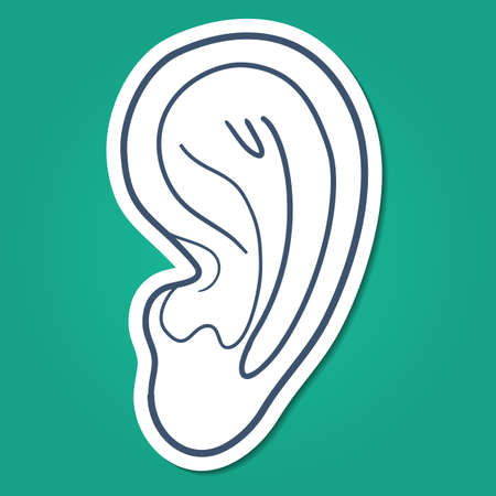 human ear: Sketch sticker vector element for medical or health care design