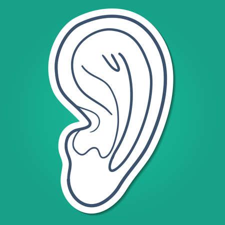 human ear: Sketch sticker vector element for medical or health care design
