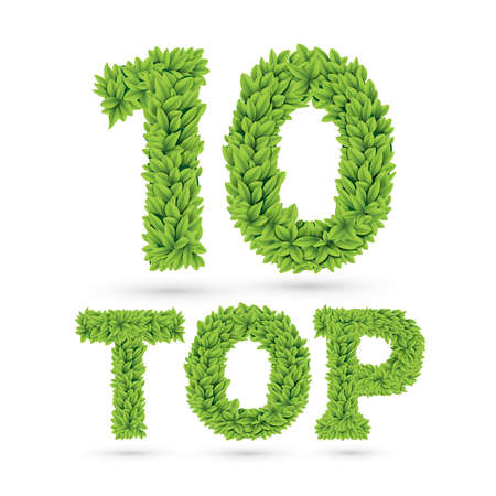 Top 10 text of green leaves isolated on white Illustration