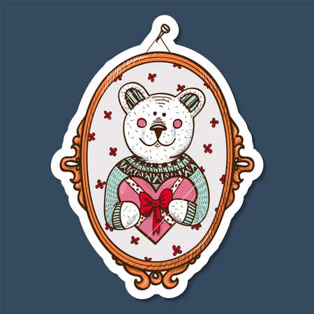 Paper sticker imitation. Vector card concept. Romantic tender design