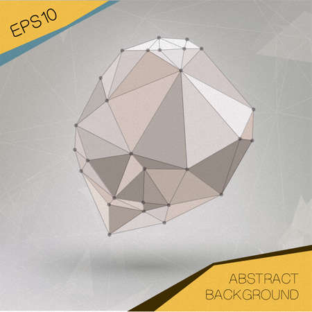 Abstract geometric spherical shape from triangular faces for graphic design.  Vector