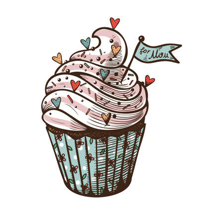 Vector hand drawn illustration of cupcake isolated on white Vector