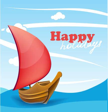 barca a vela: Barca a vela PrintRomantic sulla soleggiata sfondo di mare.