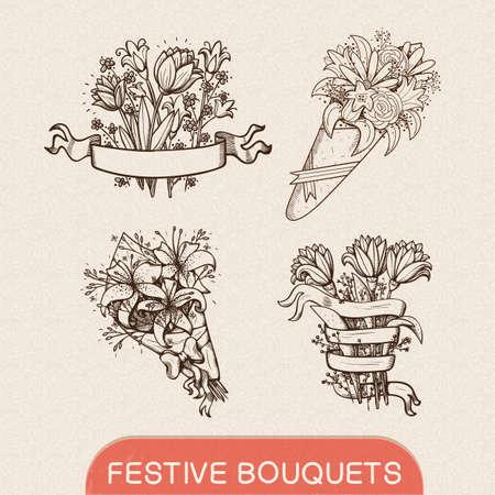 bouquet flowers: Sketch design elements. Hand drawn vintage style. Eps 10 vector illustration. Illustration