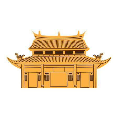 Templo chino aislado en blanco