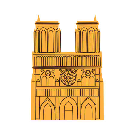 notre dame de paris: Notre Dame de Paris Cathedral isolated on white  Illustration