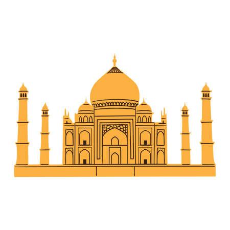 shah: Taj Mahal isolated on white  Illustration