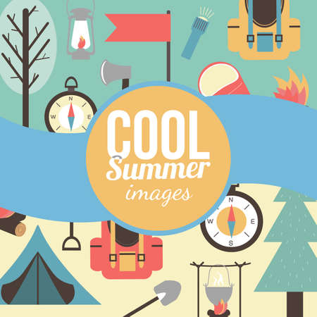 Summertime vacations and traveling background  Illustration