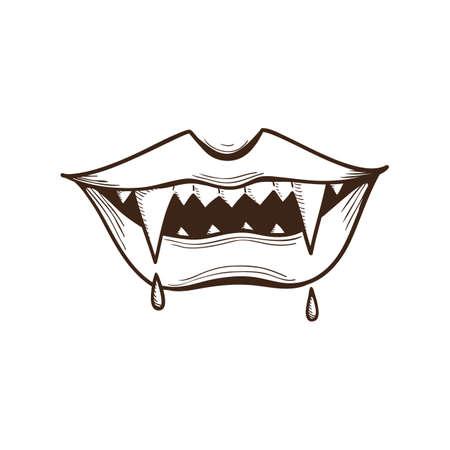 vampire cartoon: Vampire mouth.