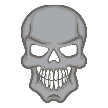 Halloween cartoon scull isolated on white. Illustration