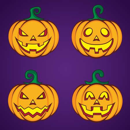 calabaza caricatura: De Halloween linterna de calabaza de dibujos animados.