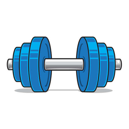 dumbbell: Fitness workout dumbbell isolated on white. Illustration