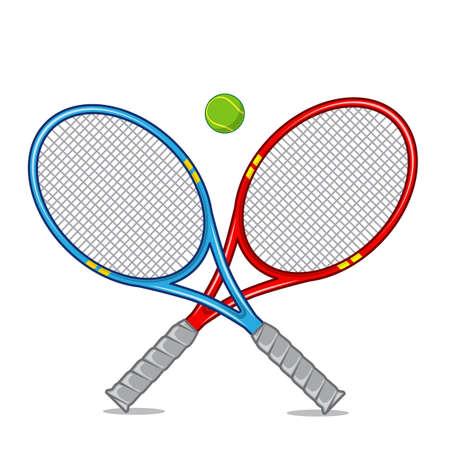 racket: Tennis racket isolated on white. Illustration