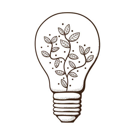 Light bulb with leaves within.