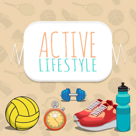 Active healthy lifestyle background. Vector