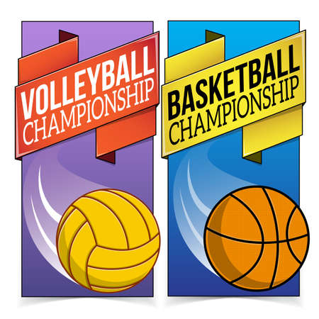 Basketball and volleyball banners isolated on white. Vector