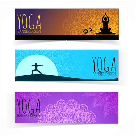 Yoga banner collection. Banco de Imagens - 33597565
