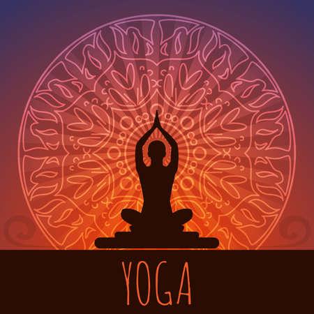 yoga meditation: Yoga background. Illustration