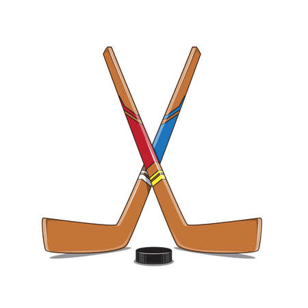 hockey players: Crossed Hockey Sticks and Puck.