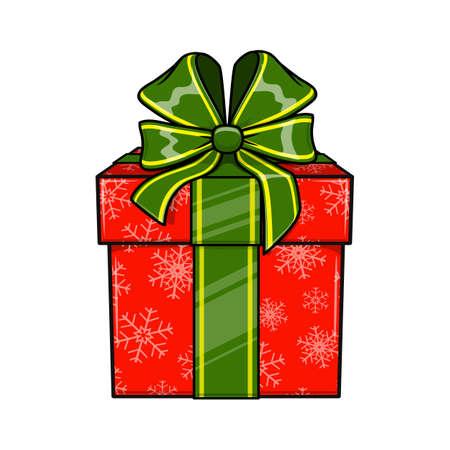 present box: Christmas and New Year decorative present box. Illustration