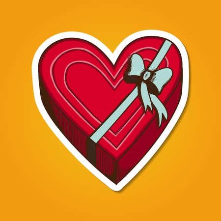 present box: Heart present box with bow. Illustration