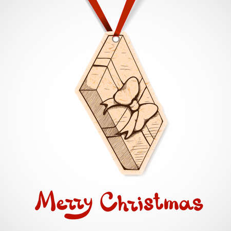 present box: Present box paper label. Christmas and New year design element