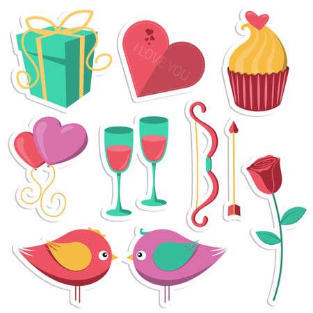 saint: Saint Valentines Day objects set.