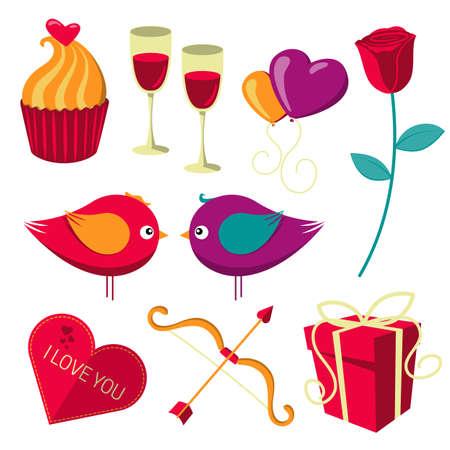 saint valentines: Oggetti San San Valentino insieme.
