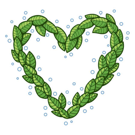 safe world: Heart with leaves. Illustration
